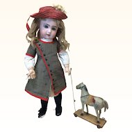 Small Antique Horse Pull Toy For Doll Display