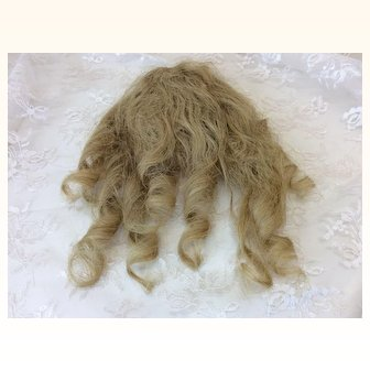 "Antique 10""  Human Hair Blonde Wig French or German Bisque Doll"
