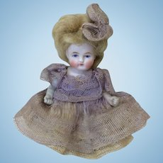 "All Bisque Antique 5"" Barefoot Doll All Original"