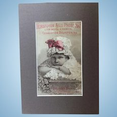 Beautiful Antique Advertising Card Matted For Display with Dolls