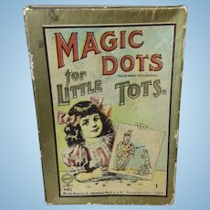 "1907 Antique Magic Dots 4x6"" Child's Game Doll Display"