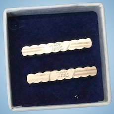 Tiny Antique Set of Engraved Doll Pins in Box