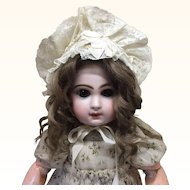 Beautiful Early Cream & Blue Bonnet Med Sz Doll