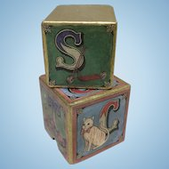 Vintage Block Box for Doll Display