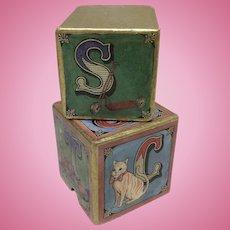 Vintage Block Box for Doll Display