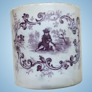 Very Early Staffordshire Purple Transferware Baby Cup Doll Display