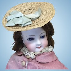 Antique Summer Woven Hat for French Fashion or Small  Doll