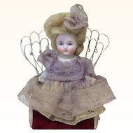 "Tiny 5"" All Bisque Barefoot Doll Original Dress"