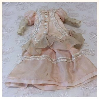 Antique Silk Small Doll  French Fashion 2 Pc Costume