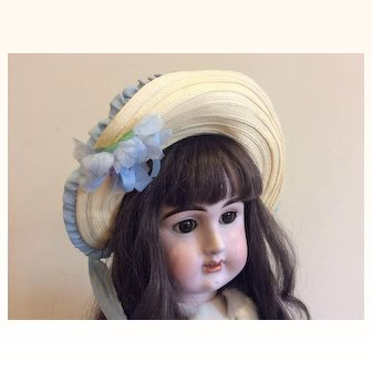 Woven Bonnet for Large french or German Bisque Doll