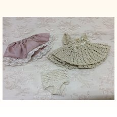 Hand Crochet Outfit  Doll House Or All Bisque Dress Slip & Panties