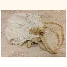 Sweet Antique Eyelet Bonnet with Ribbon for Antique Doll