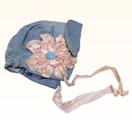 Vintage Bonnet with Ribbonwork for Doll or Sewing