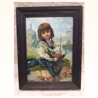 Beautiful Framed Antique Merit Award Sailor Boy Doll Display