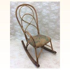 "Unusual 14"" Antique Doll  Rocking Chair"