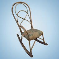 "Unusual 14"" Antique Doll  Rocking Chair"