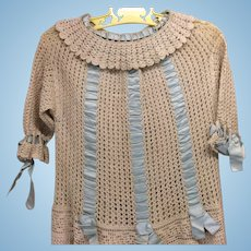Exquisite All Original Crochet Antique Child Dress Bisque Doll