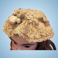 Antique Woven Hat with Cloth Flowers