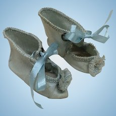 Tiny Sz 2 Antique French Silk Shoes Jumeau Steiner FG