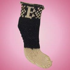 Single TINY B Sock for Very Small Doll