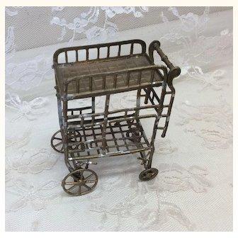 Antique Soft Metal Tea Cart German Doll House Miniature