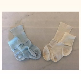 Two Pair Vintage Socks for Bisque or Composition Lg Doll