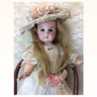 Closed Mouth Depose Tete Jumeau Original Dress Hat Wig