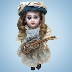 Tiny Antique Wooden Guitar for Small Doll Display French Fashion