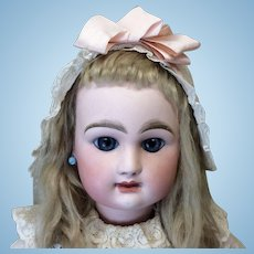 Antique Pink Silk Bonnet for French Doll