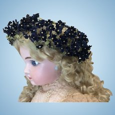 Gorgeous Deep Blue Flower Wreath Doll Hat Or Sewing