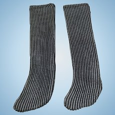 Ribbed Two Tone Doll Socks 7""
