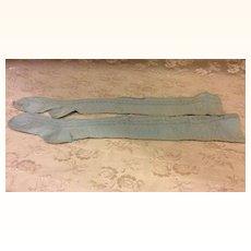 "Early Aqua Blue Finely Knit Doll Socks 4"" Foot"