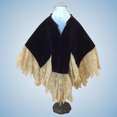 Antique Velvet and Lace Cape For Doll Or Sewing