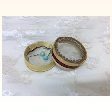 Jumeau Blue Earrings in Tiny Glass Topped Box