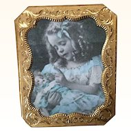 Miniature Little Girl with Doll in Antique Frame