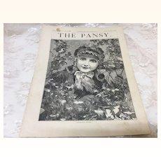 Original 1882 Pansy Girls Magazine Christmas Holly Jumeau Face