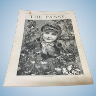 Original 1882 Pansy Girls Magazine Christmas Holly Jumeau Face