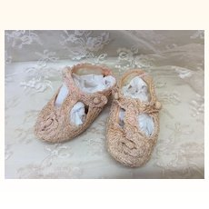 Pink Crochet & Silk T-Strap Slippers