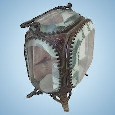 Exquisite Small Beveled Antique Jewelry Case For Doll