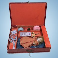 Miniature All Bisque Doll in Original Sewing Presentation Box