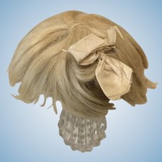 """10"""" Antique Blonde Mohair Wig w/ Attached Bow & Pate"""