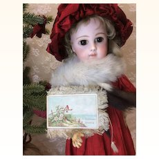 "Antique Miniature Fringed Christmas Greeting Card 3"" x 2"""