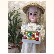 "Vintage Miniature 3/4"" Christmas Ornaments Doll Display"