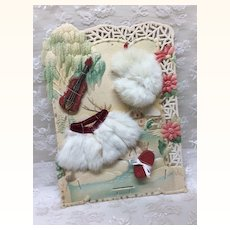 French Fashion Gift Presentation Card Fur Cape Violin