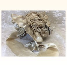 Gorgeous Antique Beige Silk Bonnet