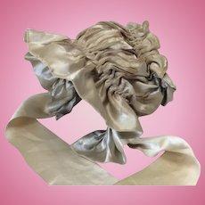 Gorgeous Antique Beige Silk Bonnet