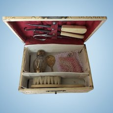 Antique Trunk Necessaire For French Fashion or Bebe
