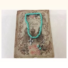 "Artist Made ""Jumeau Blue"" Doll Jewelry on Paris Card"
