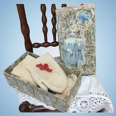 Antique Wool Doll Mittens In Box