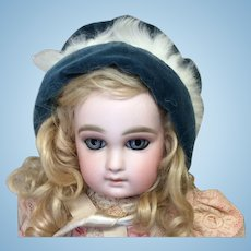 Blue Velvet and Fur Bonnet Pink Silk Lining